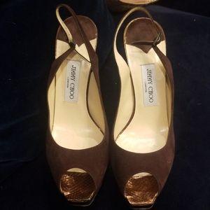 Jimmy choo brown suede gorgeous heels